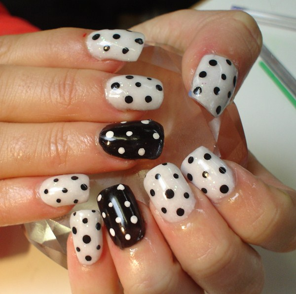 Funky dotted nail art
