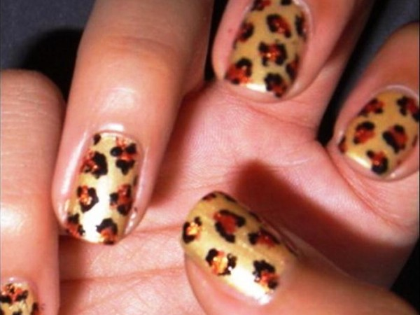 Cheetah Designed Nail Art