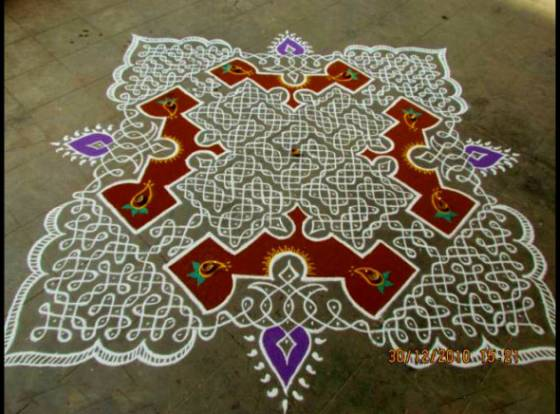 kolam design rice powder