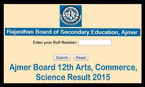 rajasthan board result 2015 class 12th